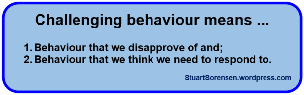 Challenging behaviour means