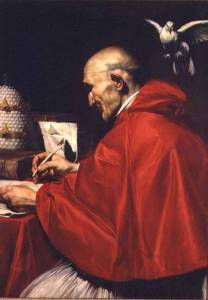 KAB76926 Pope Gregory the Great by Saraceni, Carlo (c.1580-1620) oil on canvas Palazzo Barberini, Rome, Italy Italian, out of copyright
