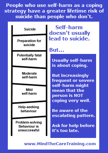 Self harm and suicide ladder meme