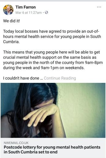 Tim Farron mental health CAMHS Cumbria saviour status
