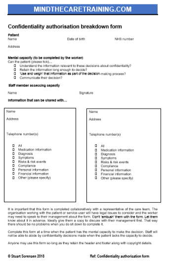 Confidentiality form 3